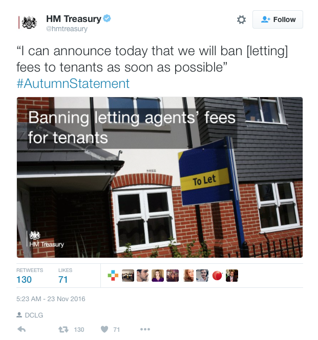 Treasury tweet ban letting fees 2016