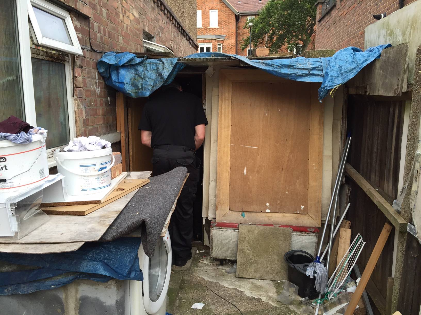 Brent Council housing raid - bed in shed - 2016