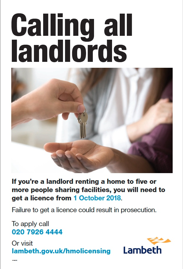Lambeth Council HMO licensing poster 2018