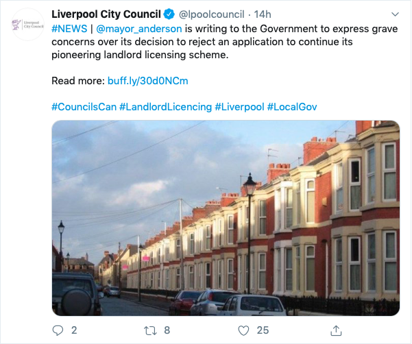 Liverpool Ciyt Council selective licensing tweet 2020
