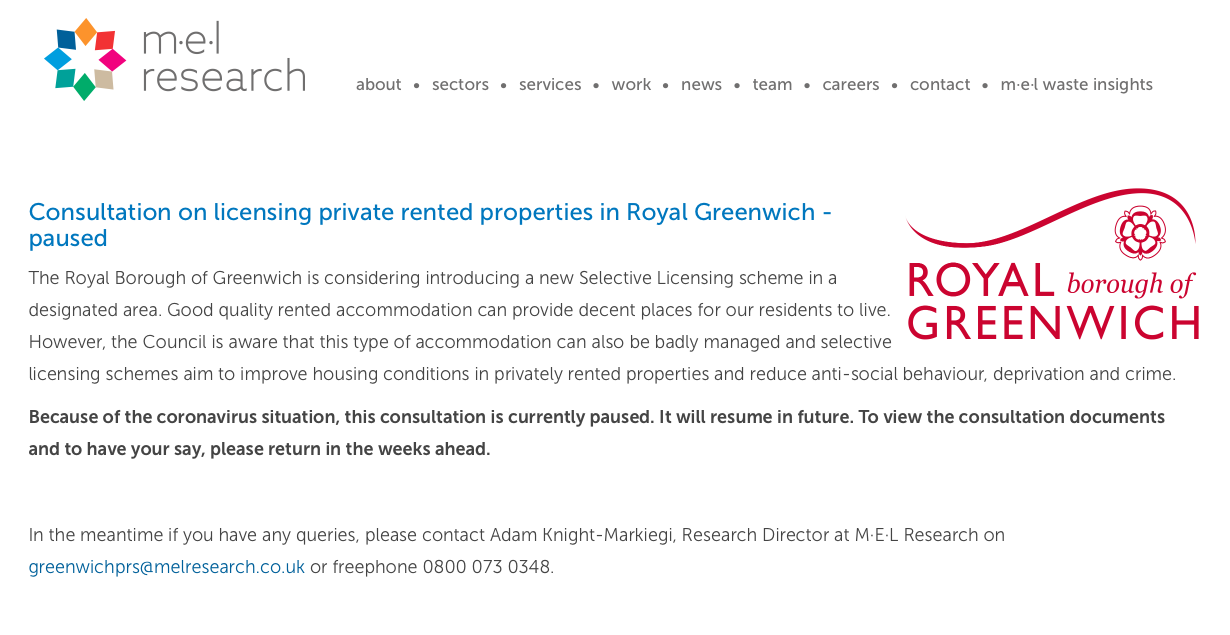 Greenwich selective licensing consultation paused due to COVID19