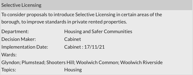 Greenwich Council Forward Plan Sept 2021 - Selective licensing