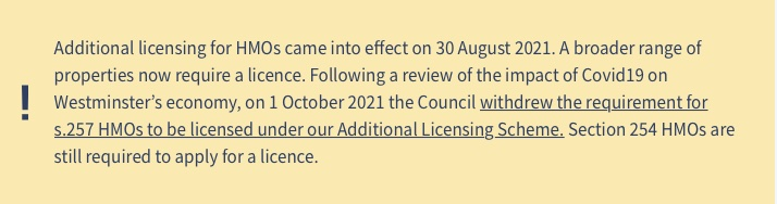 Westminster City Council additional licensing partial revocation announcement 2021