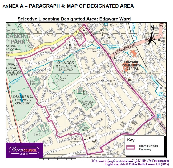Map of Edgware selective licensing scheme 2021