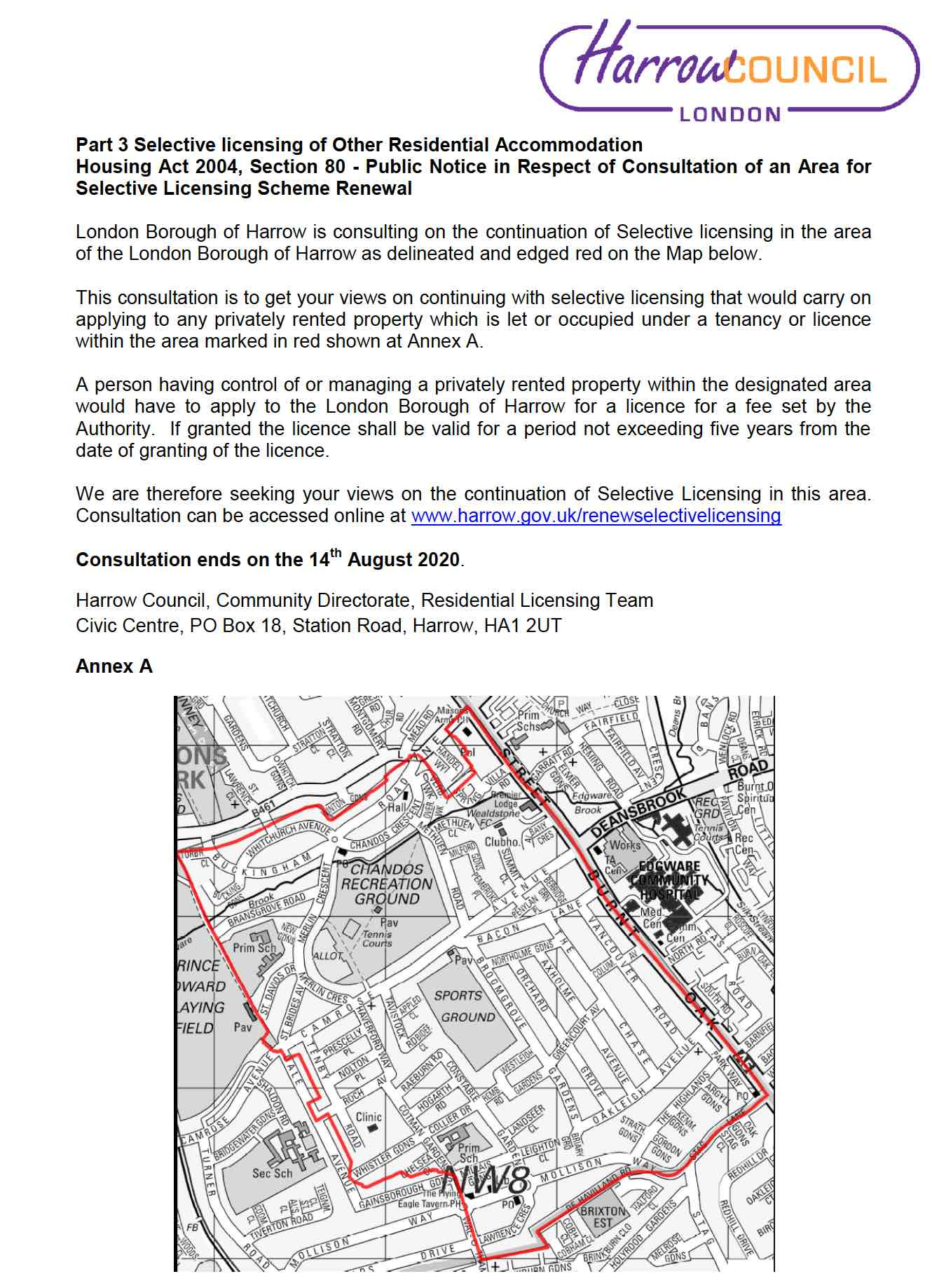 Harrow selective licensing consultation for Edgware 2020