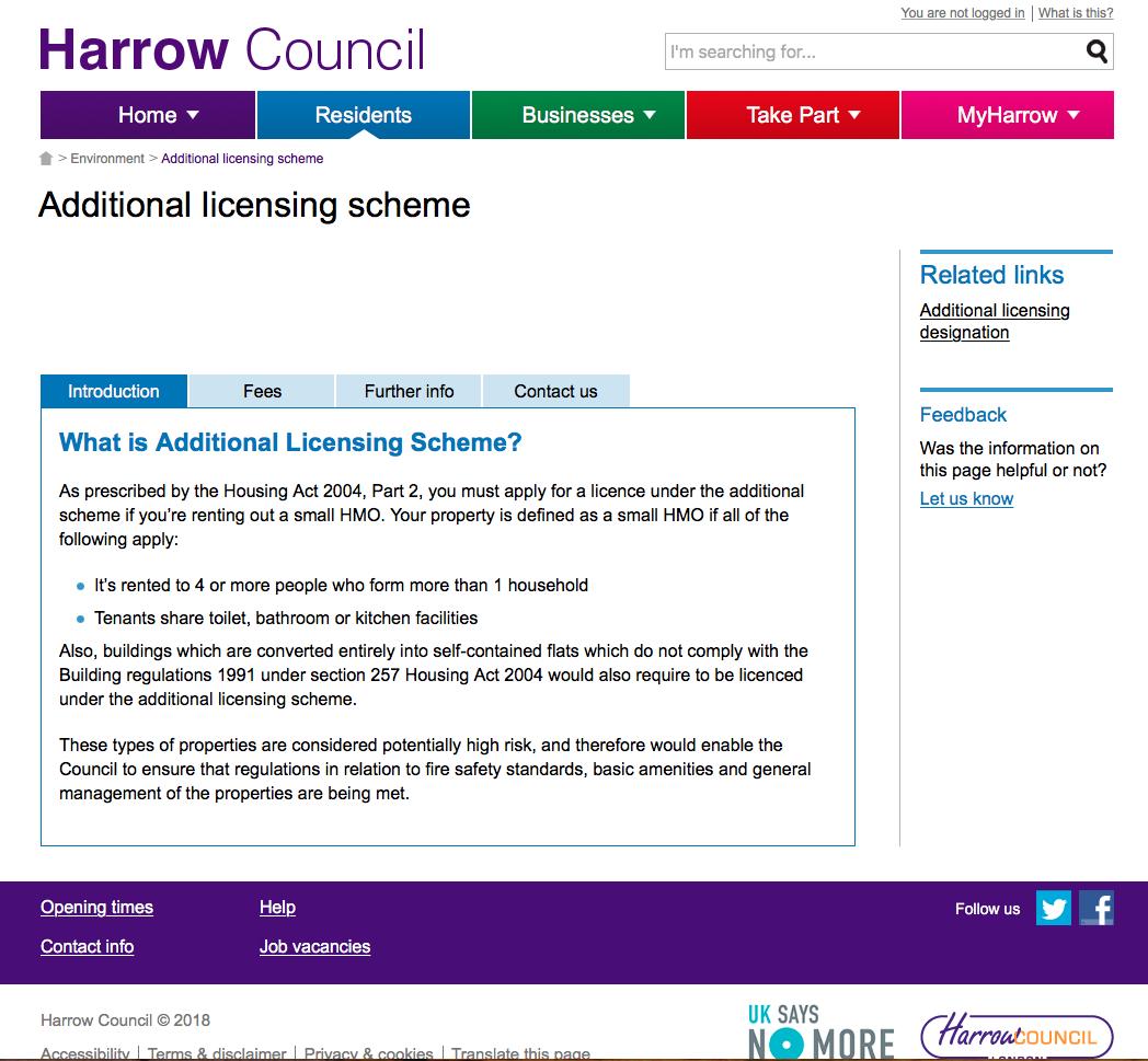 Screenshot of Harrow Council website 2 August 2018