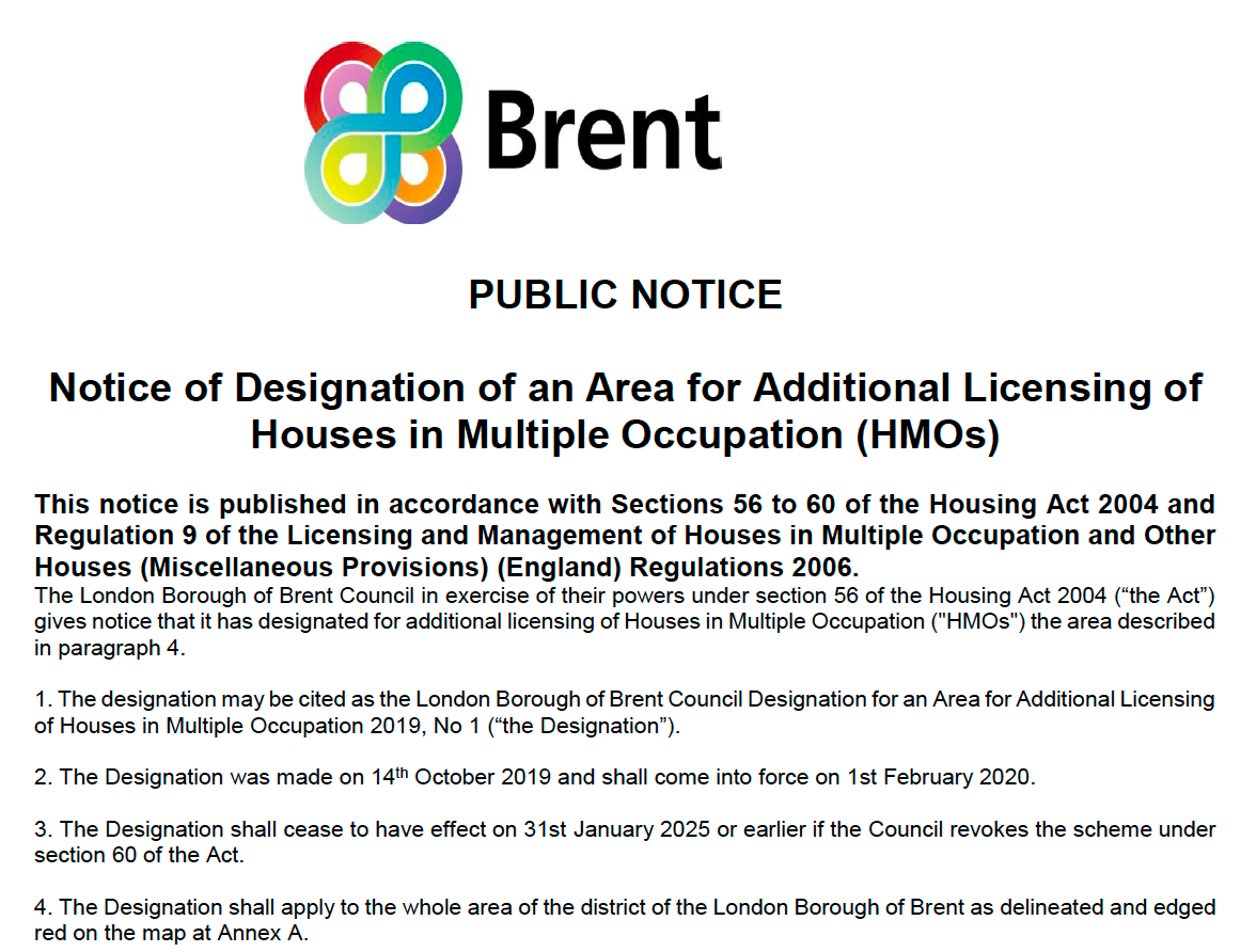 Brent Additional Licensing Public Notice 2019 (partial copy)
