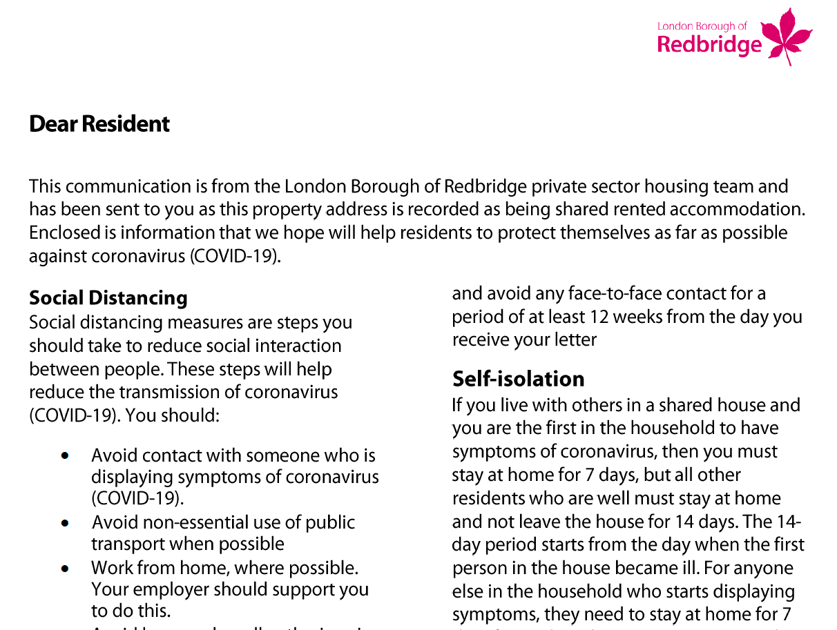 Excerpt from Redbridge Council COVID19 guidance for private tenants