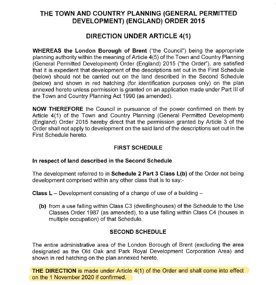 Brent non immediate HMO Article 4 Direction 2019