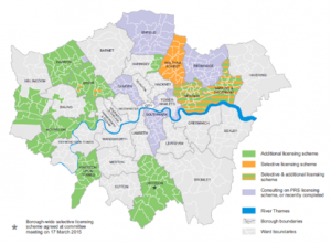 Future of London map showing property licensing schemes in London, March 2015